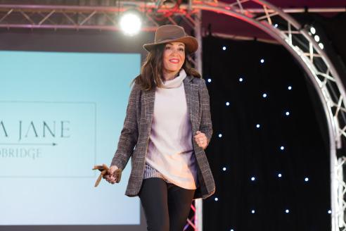 Check blazer on the Suffolk Fashion Show 2018 runway