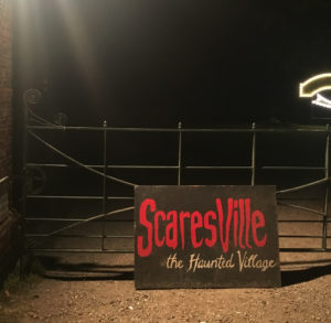 Scaresville sign at the entrance of the haunted village