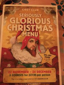 Cosy Club Christmas Menu - Christmas at the Cosy Club