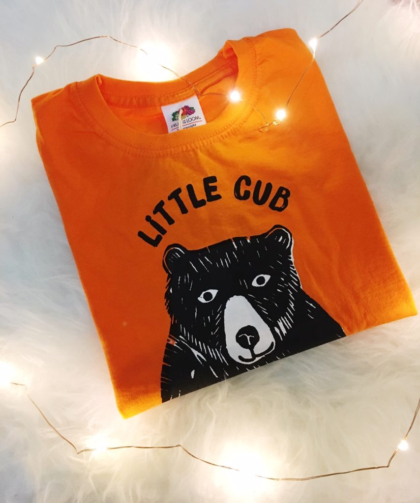 Orange Little Cub t-shirt from Design Smith Studio