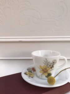 Yellow floral cup and saucer from Stone & Sage