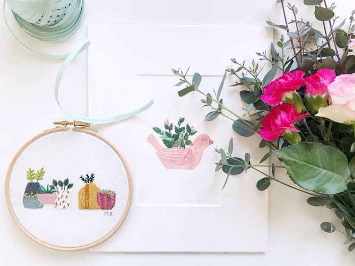 Mother's Day Gift Guide - Megan Rose Clark artwork and embroidery