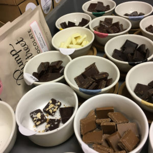 Taste testing chocolate at Pump Street Chocolate Factory Tours