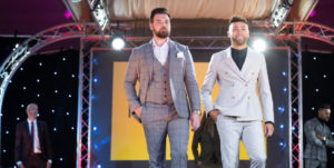 Men in suits on the runway at Suffolk Fashion Show