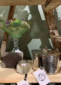 Silver plated biscuit tin with swan handle £52.50, 1920-30's silver simmed vesta striker (Henry Perkins) £49, Vintage glass with succulents £29.50, Salad Days