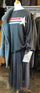Layered Tulle Grey Sparkle Skirt £35, Cashmere mix Jumper £54, Necklace £12 and Faux Fur Coat £125