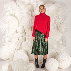 Jumper1234 Exposed Roll Collar knit £269 Bellerose Izo Sequin Skirt £139 Penelope Chilvers Santana Boot £329