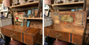 Upcycled vintage lawn tennis box with club legs Bill's Junk to Funk £140
