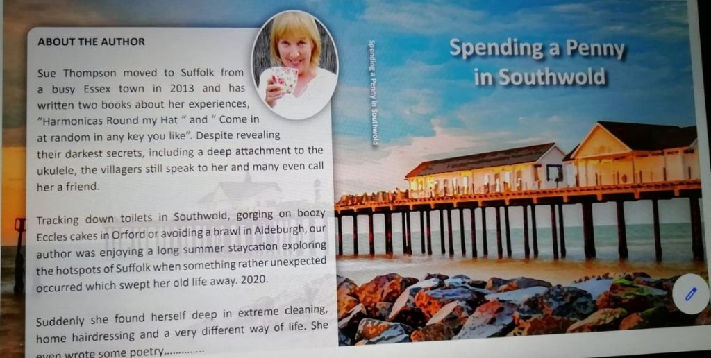 Cover and back cover of Sue Thompson book's Spending a penny in Southwold
