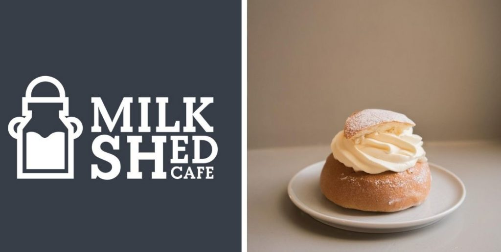 small business spotlight: April, image of the milk shed cafe logo and a cream bun