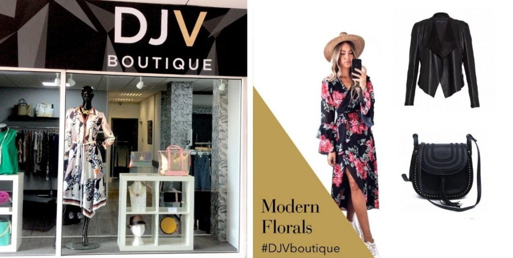 small business spotlight: April, image featuring shop front for DJV boutique and floral dress