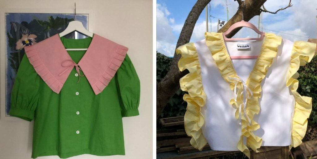 small business spotlight: April, image featuring green shirt with pink collar and white top with yellow frill