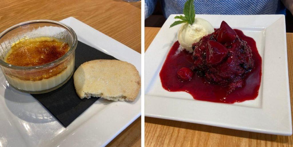 Regatta in Aldeburgh - desserts of pannacotta and berry pudding