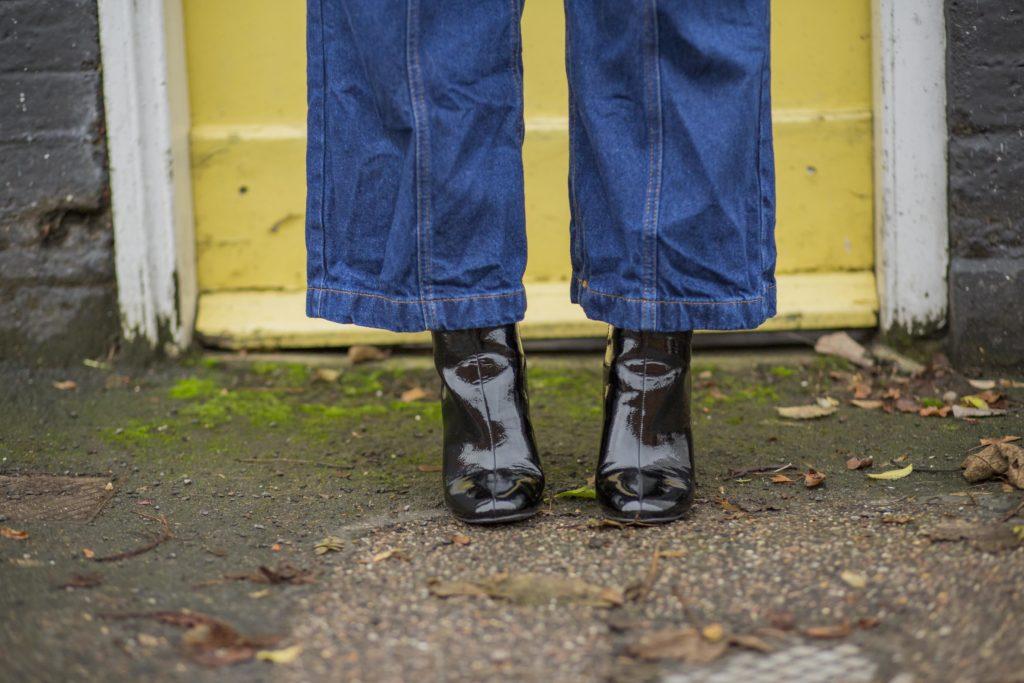 Black patent boots