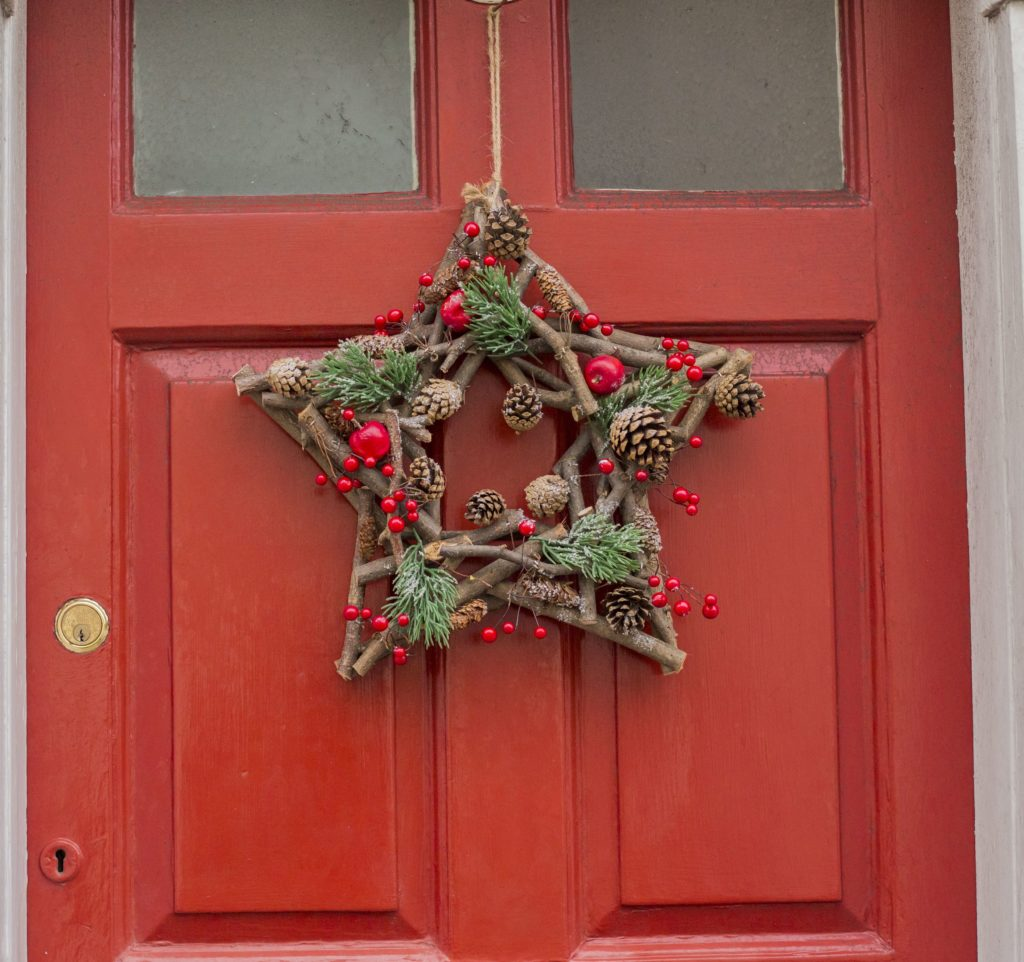 Star wreath on red door in Southwold