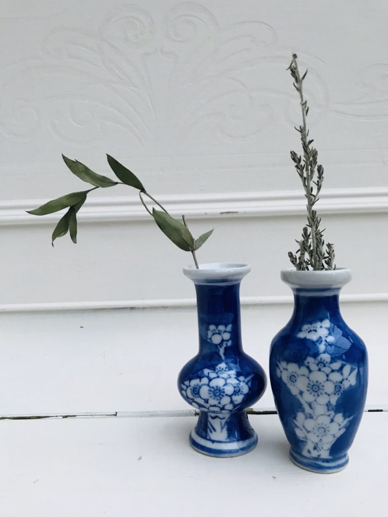 Blue and white floral vases from Stone & Sage