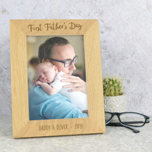 Daddy first Fathers day frame, solid oak photo frame for Father's day, £17.95