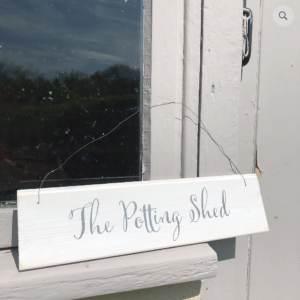 Hand painted wood sign - The Potting Shed, £10