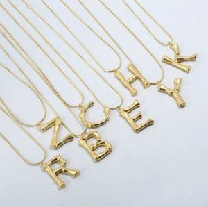 Bamboo Style Initial Necklace, £10