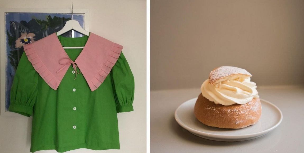 small business spotlight: April, image featuring green shirt with pink collar and a cream bun
